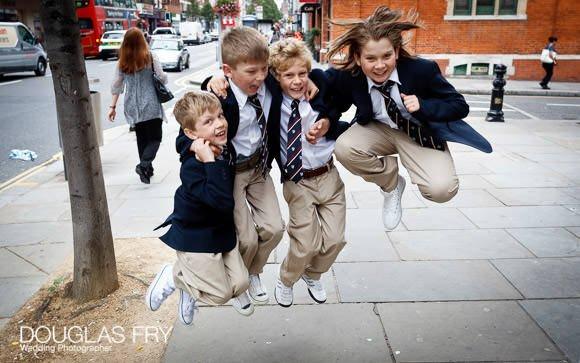 Children jumping on Kings Road
