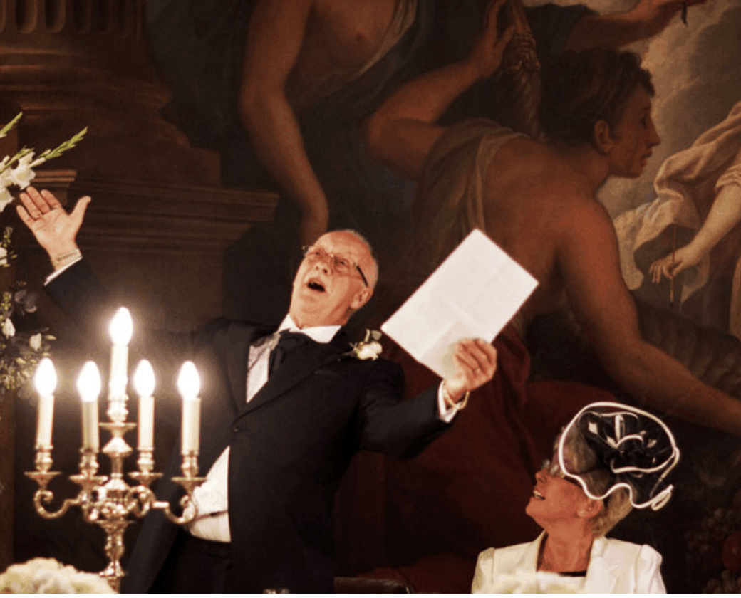 Painted Hall wedding photograph of speech by father of the bride