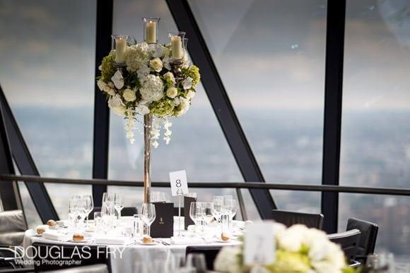 Gherkin wedding photograph - Table arrangement