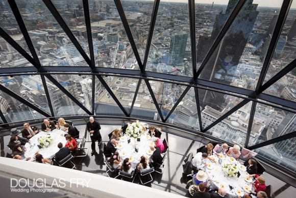 Tables photographed from above at the Gherkin
