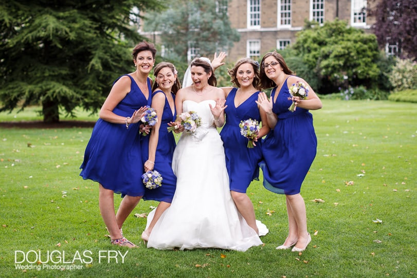 Bride and bridesmaid wedding photograph at Grays Inn in London