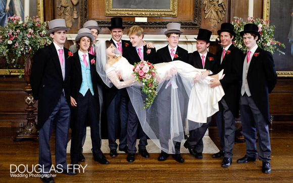 Bride and ushers photographed at Royal Hospital Chelsea