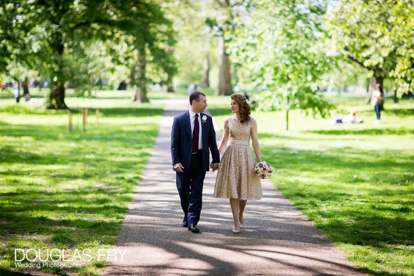 Wedding Photographer Mandarin Oriental Hotel - Walking in Hyde Park