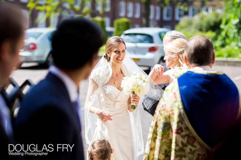 Bride arriving at Church in London