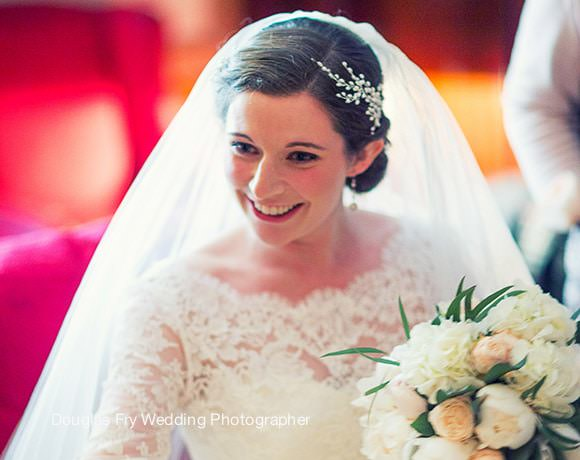 Wedding Photograph of bride getting ready for wedding at St Luke's Church in Chelsea