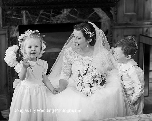 Wedding Photograph bride and bridesmaids at St Luke's Church