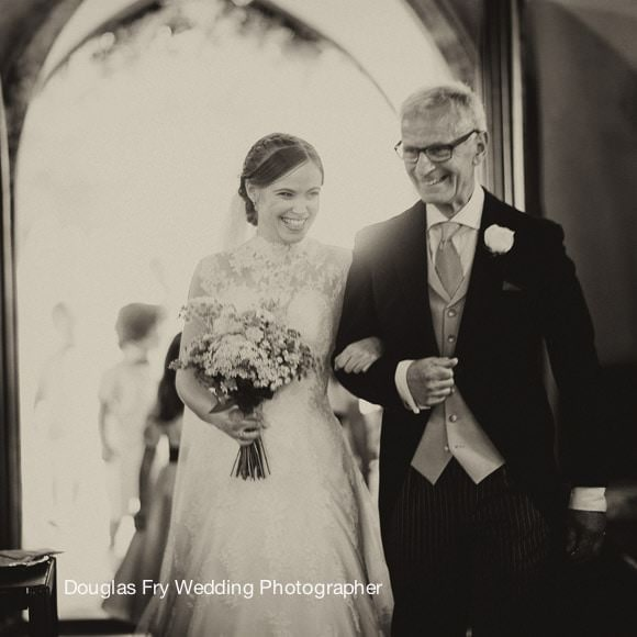 Bride and Father - Church hampshire wedding photographer