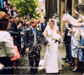 St Bride's Church wedding photographer - confetti shot