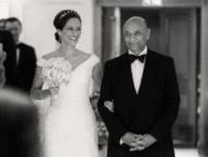 Wedding photograph of bride entering ceremony at Savoy Hotel