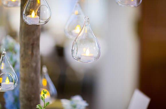 Tealights at weddding in London