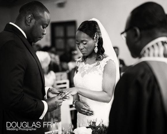 Photograph of wedding ceremony at golf club