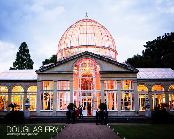 Great Conservatory - lit up at night - during wedding reception