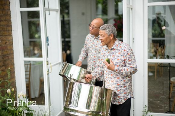 Steel band playing outside the Orangery in Holland Park