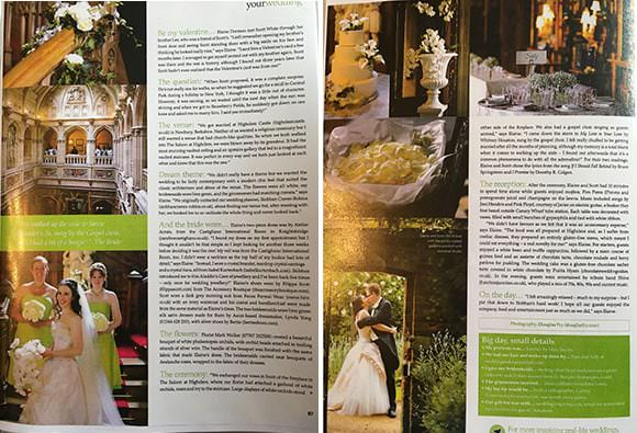 Highclere Castle wedding photographs by Douglas Fry appearing in magazine feature