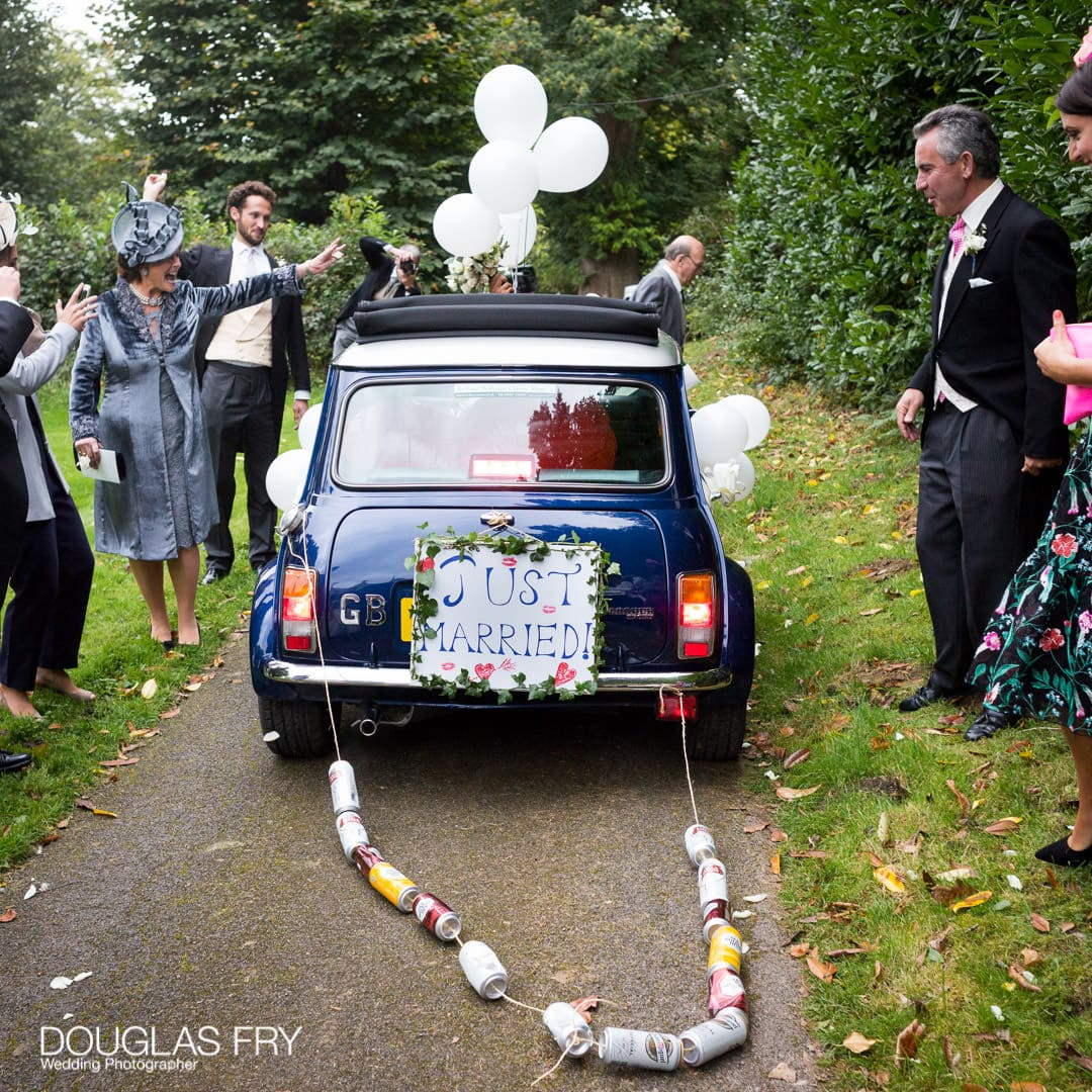 Mini Cooper car to drive to reception from wedding 'Just Married'