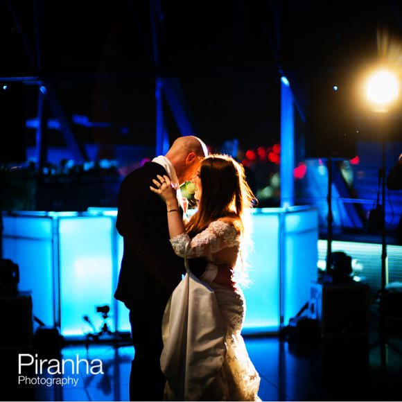 Couple dancing at Gherkin in London during wedding reception