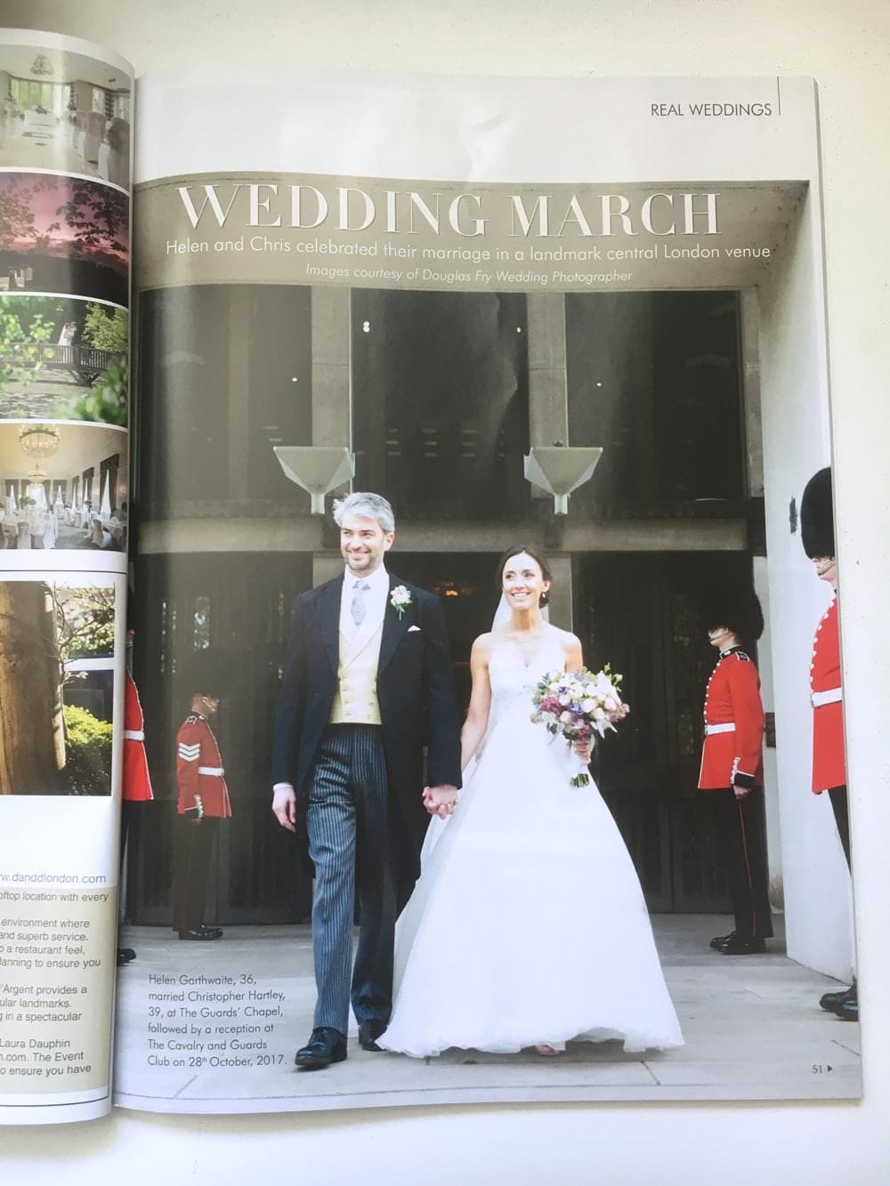 First page of article showing bride and groom standing in front of The Guards Chapel in London