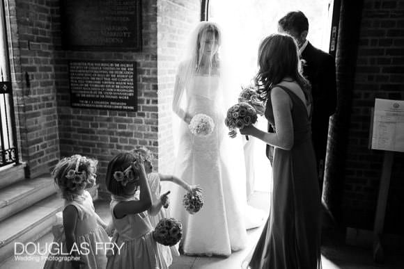 Bride arriving at Chelsea Old Church