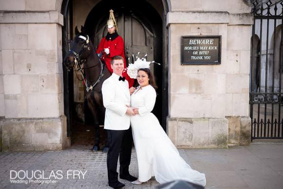 wedding photography of couple outside Horse Guards parade