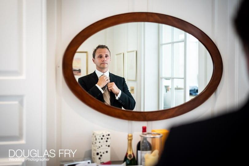 Groom getting ready for London wedding