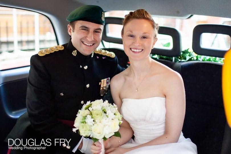London Wedding Photographer taxi photography of couple