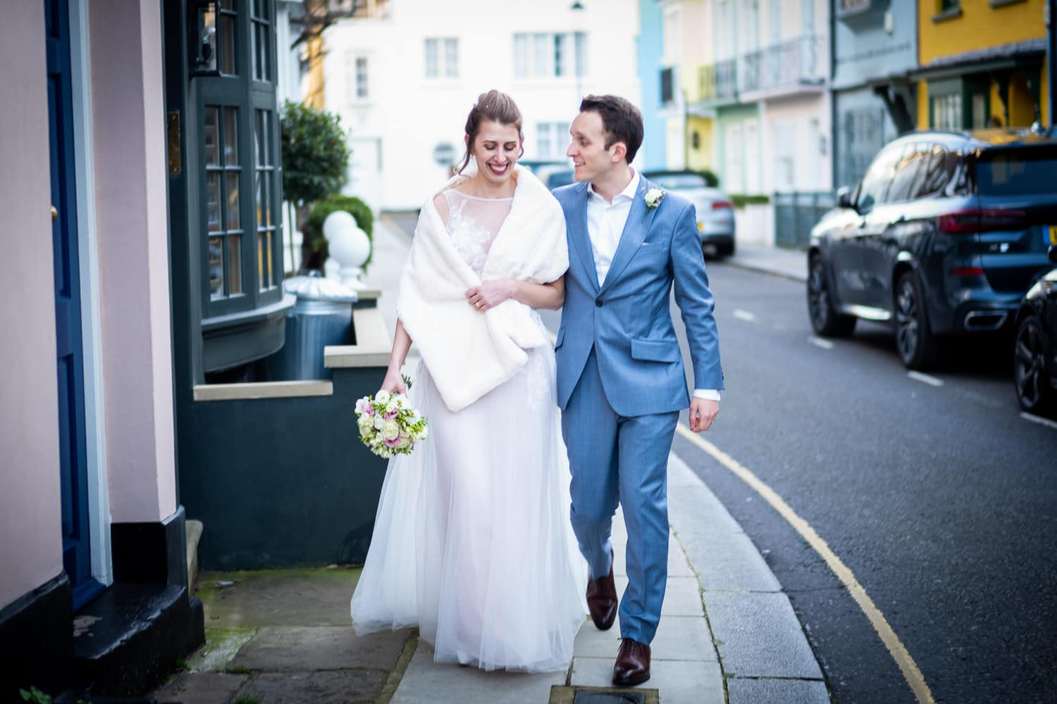 Best of 2020 - favourite photograph after wedding of couple on Chelsea street near Chelsea Regiter Office