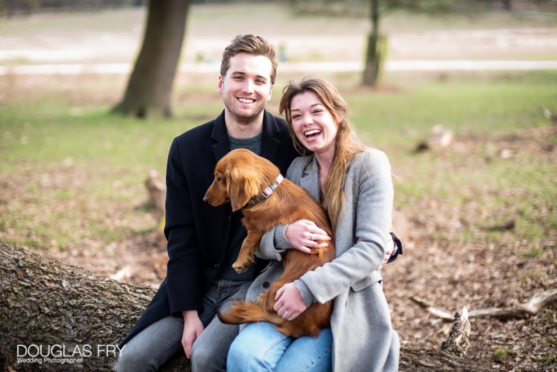 Engagement photoshoot with dog in Park