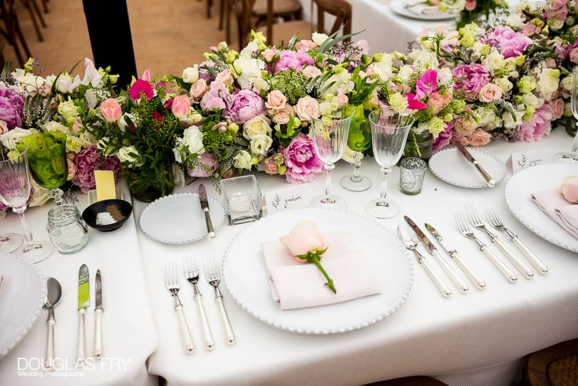 Marquee and flowers at Chelsea Physic Garden wedding