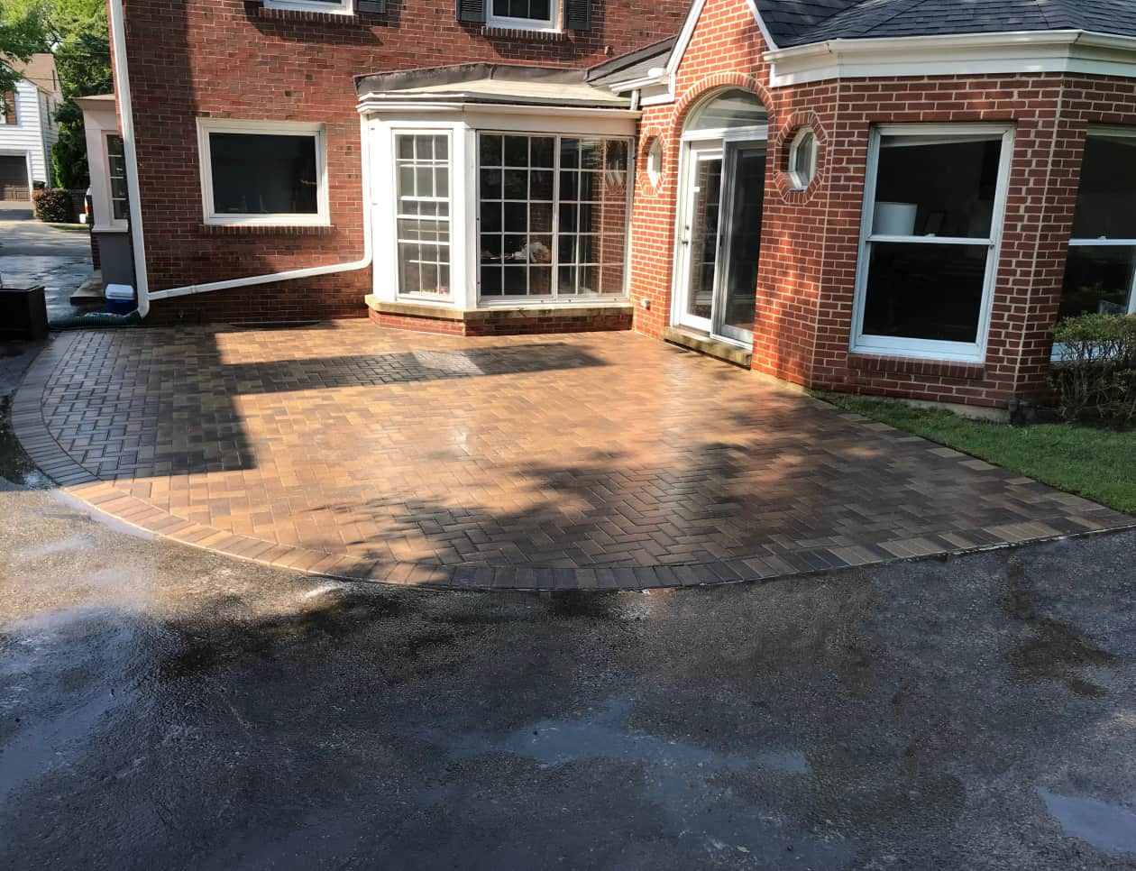 brick patio near house